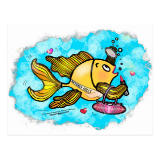 Beverly Hills Housewife Fish cute funny comics Postcard