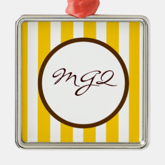 Beverly Hills Stripe Custom Monogram Silver-Colored Square Decoration