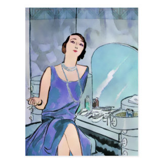 Beverly's Boudoir: 1920s Fashion in Blue Postcard