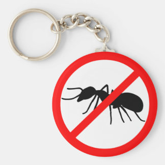 Beware, ants! basic round button key ring