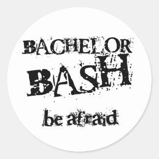 Beware Bachelor Bash Round Sticker