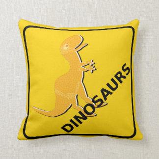 Beware Cartoon Dinosaurs Warning Sign T-Rex Cushion