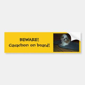 BEWARE! Cavachon on board! Bumper Sticker.