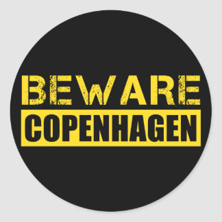 Beware Copenhagen Round Sticker