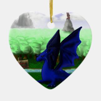 Beware, Dragons Ceramic Heart Decoration