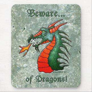 Beware Dragons Mouse Pad