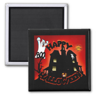 Beware! Haunted House - Enter at Your Own Risk! Square Magnet