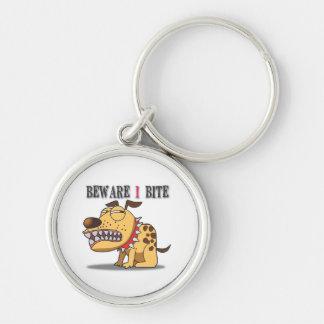 Beware I Bite Keychain