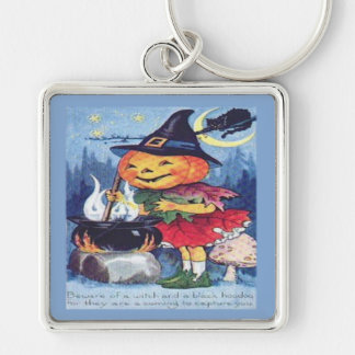 Beware of a witch and a black hoodoa Silver-Colored square key ring