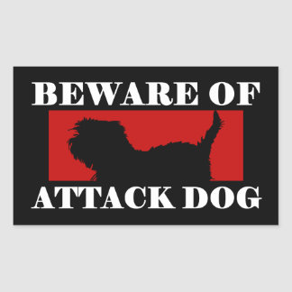 Beware of Attack Dog - Affenpinscher Rectangular Sticker