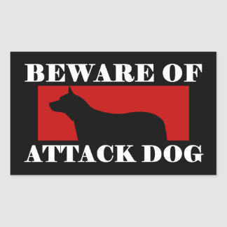 Beware of Attack Dog - Australian Cattle Dog Rectangular Sticker