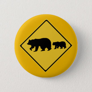 Beware of Bears, Traffic Warning Sign, Nevada, USA 6 Cm Round Badge