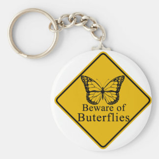Beware of Butterflies Basic Round Button Key Ring