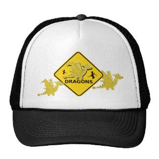 Beware of Cartoon Dragons Sign Trucker Hat