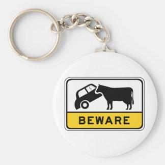 Beware of Cows, Traffic Warning Sign, Australia Key Ring