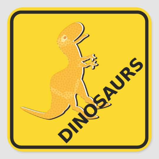 Beware of Cute Cartoon Dinosaurs Sign T-Rex Square