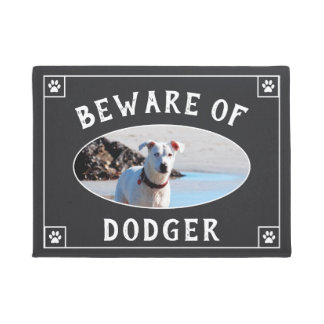 Beware of Dog Name - Photo Doormat