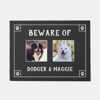 Beware of Dog Names - Two Photos Doormat