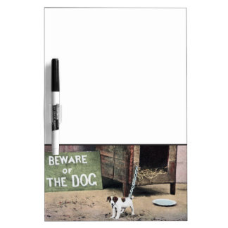 Beware of dog sign with small dog dry erase board