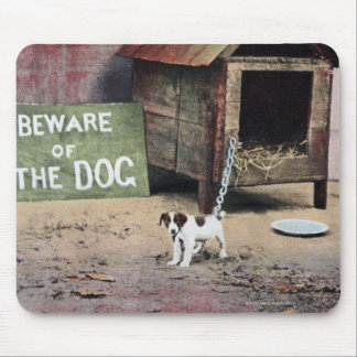Beware of dog sign with small dog mousepad
