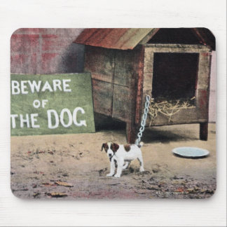 Beware of dog sign with small dog mouse pad