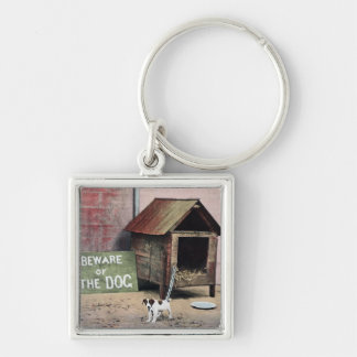 Beware of dog sign with small dog Silver-Colored square key ring