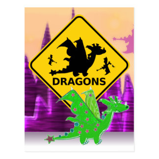 Beware of Dragons Sign Cute Cartoon Dragon Postcard