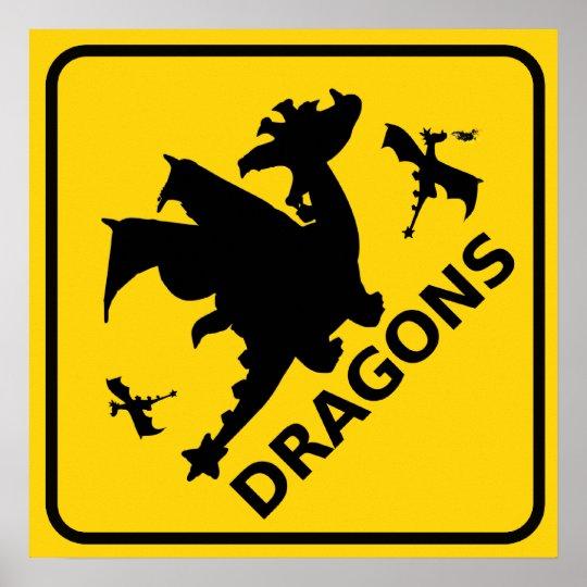 Beware of Dragons Warning Sign Poster