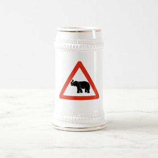 Beware of Elephants, Traffic Sign, Cambodia Beer Steins