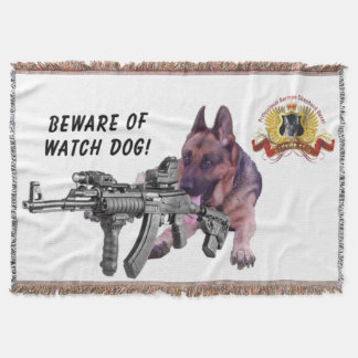 Beware of German Shepherd Guard Dog Throw Blanket
