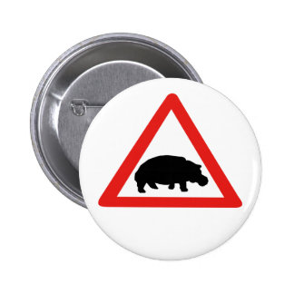 Beware of Hippopotamuses, Traffic, South Africa Pinback Buttons
