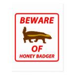 Beware of Honey Badger Postcard