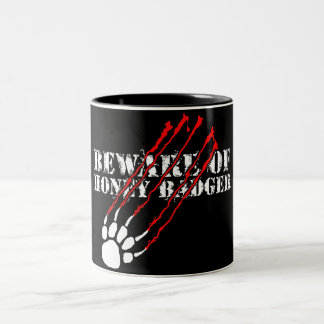 Beware of honey badger Two-Tone coffee mug