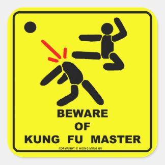 Beware of kung fu master square sticker