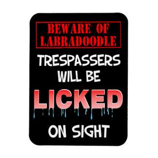 """Beware of Labradoodle"" Magnet (Black)"