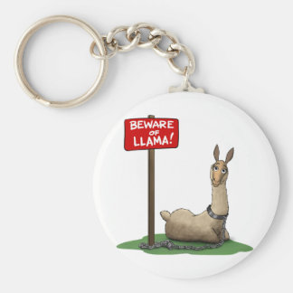 Beware of LLama! Basic Round Button Key Ring