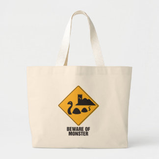 Beware Of Loch Ness Monster Large Tote Bag