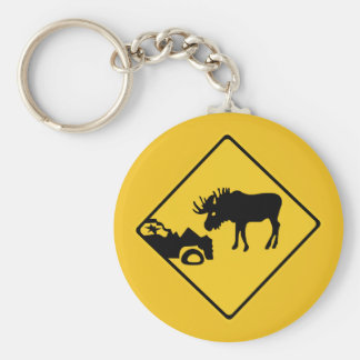 Beware of Moose, Traffic Sign, Canada Basic Round Button Key Ring