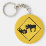Beware of Moose, Traffic Sign, Canada Keychain