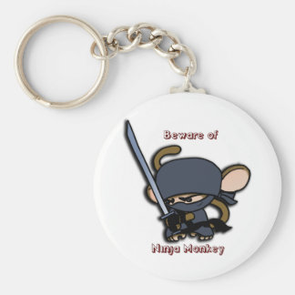 Beware of Ninja Monkey! Basic Round Button Key Ring