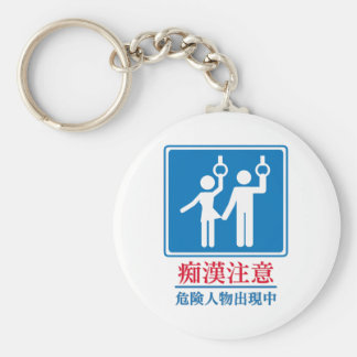 Beware of Perverts - Actual Japanese Sign Basic Round Button Key Ring