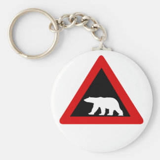 Beware of Polar Bears, Traffic Sign, Norway Basic Round Button Key Ring