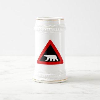 Beware of Polar Bears, Traffic Sign, Norway Beer Steins
