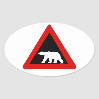 Beware of Polar Bears, Traffic Sign, Norway Oval Sticker