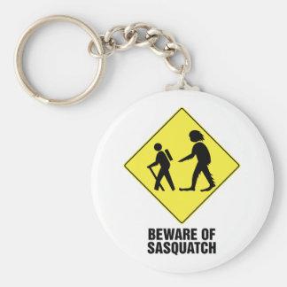 Beware of Sasquatch Basic Round Button Key Ring