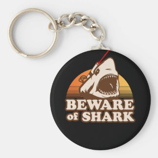 Beware of Sharks with Frickin' Laser Beams Basic Round Button Key Ring