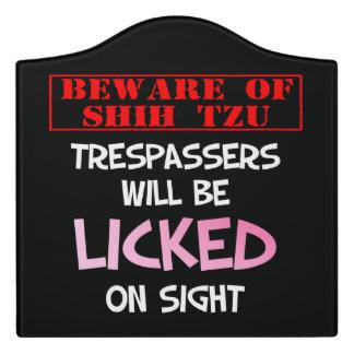 """""""Beware of Shih Tzu"""" Large Room Sign (Black) Door Sign"""
