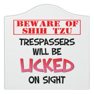 """""""Beware of Shih Tzu"""" Large Room Sign (White) Door Sign"""