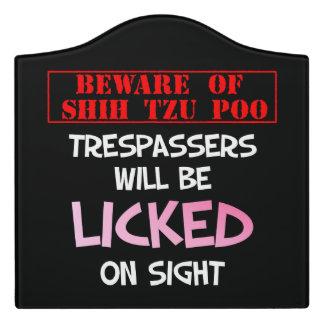 """""""Beware of Shih Tzu Poo"""" Large Room Sign (Black) Door Sign"""