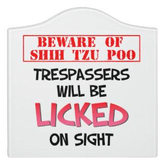 """Beware of shih tzu poo"" Large Room Sign (White) Door Sign"
